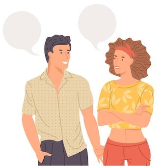 Giovane coppia che parla insieme