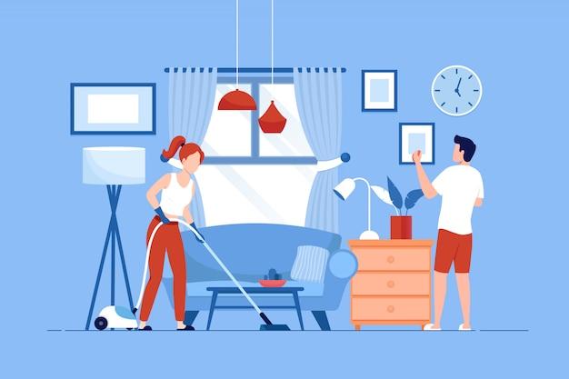 Giovane coppia riordina la casa