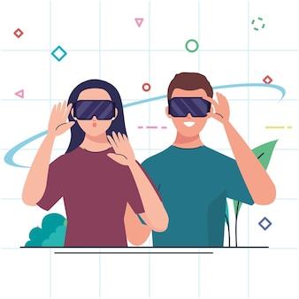 Coppia giovane utilizzando dispositivi di tecnologia di maschere virtuali di realtà