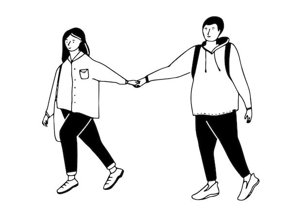 Giovane coppia che cammina ragazza tira il ragazzo a mano illustrazione di appuntamenti divertenti semplice disegno nero