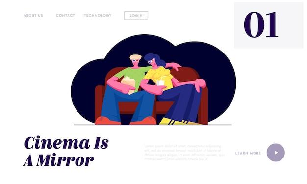 Giovane coppia guarda film al cinema con popcorn e bevande in occhiali 3d seduto sul divano nel fine settimana. pagina di destinazione del sito web