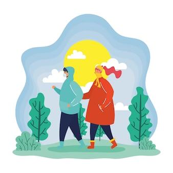 Giovani coppie che indossano maschere mediche nella scena della stagione primaverile