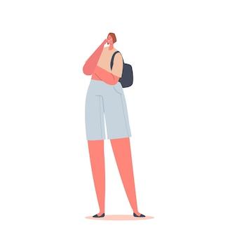 Giovane donna che piange con faccia infelice e lacrime che scendono, personaggio femminile triste che esprime emozioni negative, ragazza sconvolta