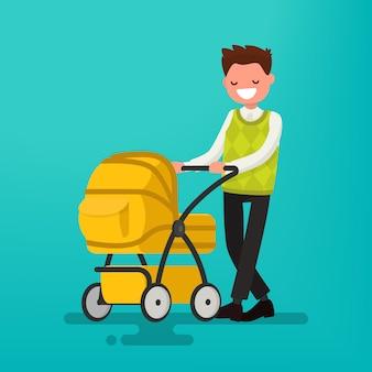 Giovane papà che cammina con un neonato che è nell'illustrazione del passeggino