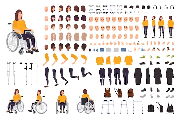 Giovane donna disabile in costruttore di sedia a rotelle o kit fai da te. set di parti del corpo, espressioni facciali, stampelle, deambulatore