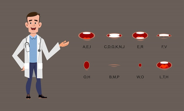 Personaggio dei cartoni animati di giovane medico con diversa sincronizzazione labiale, movimento o animazione