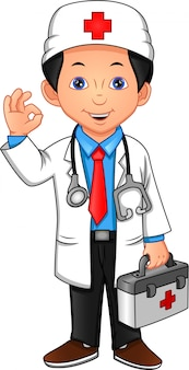 Giovane medico agitando