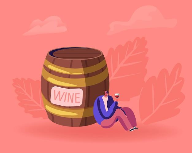 Giovane uomo ubriaco seduto vicino a un enorme barile di legno con bicchiere di vino guardando il vino rosso all'interno e sorridente. cartoon illustrazione piatta