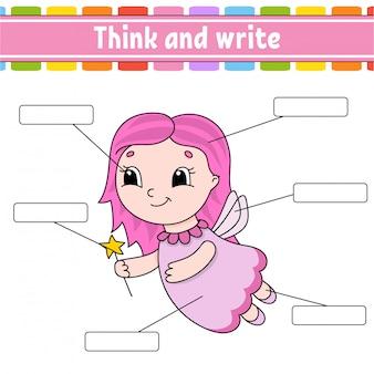 Fata giovane pensa e scrivi. parte del corpo. imparare le parole. foglio di lavoro per l'istruzione.
