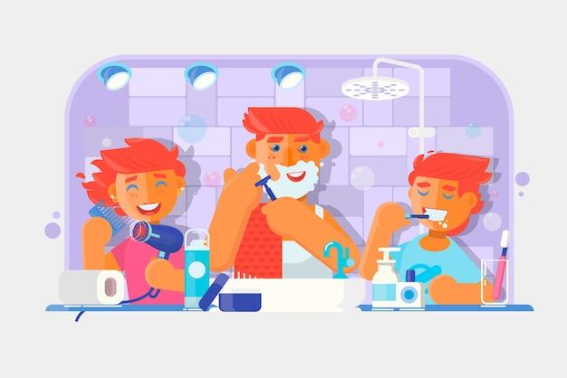 Giovane famiglia ragazzo lavarsi i denti, l'uomo radersi la faccia, bambina che si pettina i capelli in bagno. illustrazione vettoriale