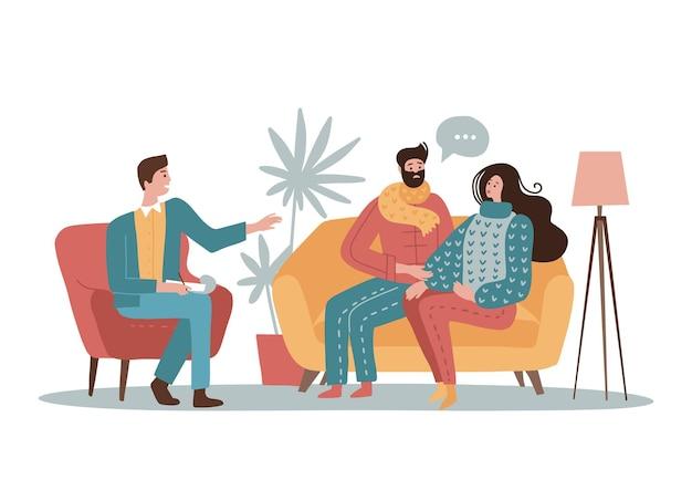 Giovani personaggi di coppia familiare che parlano con uno psicologo maschio del loro concetto di problemi di psicoth...