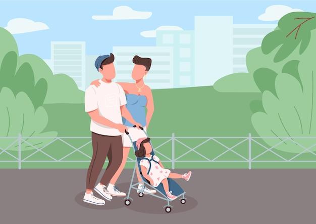 Giovane famiglia che cammina colore piatto. madre, padre e figlio ricreazione in città. mamma e papà con passeggino nel parco urbano personaggi dei cartoni animati 2d con paesaggio urbano sullo sfondo