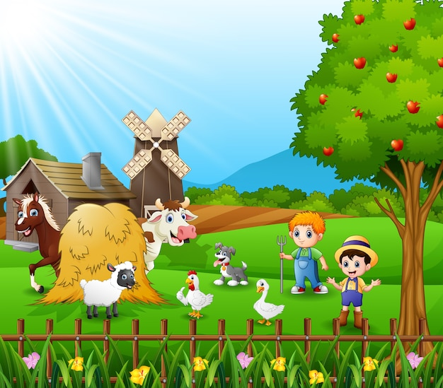 Giovani agricoltori che tengono gli animali in fattoria