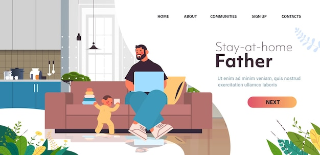 Giovane padre che gioca con il figlio piccolo e utilizza il computer portatile paternità genitorialità concetto papà trascorrere del tempo con il suo bambino a casa soggiorno interno piena lunghezza orizzontale copia spazio illustrazione vettoriale