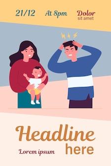 Giovane padre stanco di emicrania a causa del bambino che piange