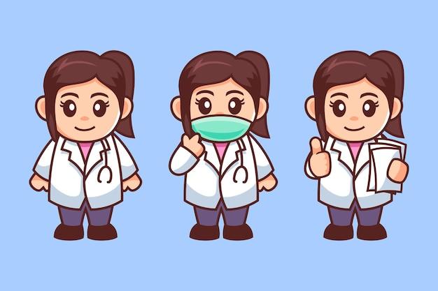 Personaggio dei cartoni animati di giovane medico femminile Vettore Premium