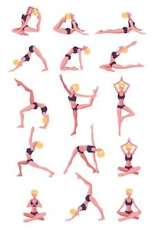 Carattere di donna sottile in forma giovane che fa yoga posizione diversa concetto di esercizi domestici