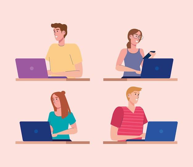 Giovani quattro persone che utilizzano la progettazione dell'illustrazione di tecnologia dei computer portatili