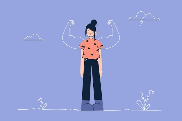 Personaggio dei cartoni animati di giovane donna frustrata in piedi guardando in basso con forti bicipiti dietro come un potente eroe che mostra l'illustrazione della forza interiore