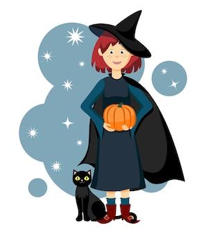 Una giovane strega divertente tiene una zucca con un gatto nero ai suoi piedi illustrazione.