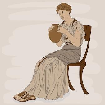 Una giovane ragazza in una tunica greca antica si siede su una sedia e beve vino da una brocca figura isolata su sfondo bianco