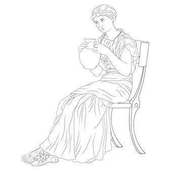 Una giovane ragazza in un'antica tunica greca si siede su una sedia e beve vino da una brocca figura isolata su sfondo bianco