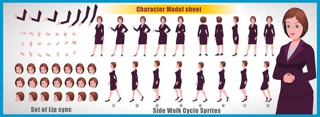 Foglio del modello di carattere della ragazza con animazioni del ciclo di camminata e sincronizzazione labiale