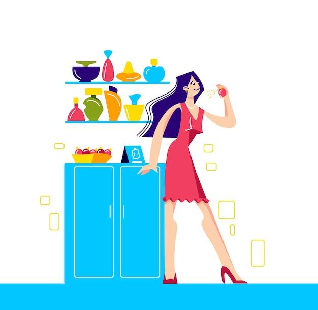 Ragazza che sceglie il nuovo aroma nel negozio di profumeria e cosmetici