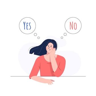 Ragazza che confonde tra sì o no concetto