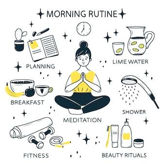 Una giovane ragazza fa la sua routine mattutina