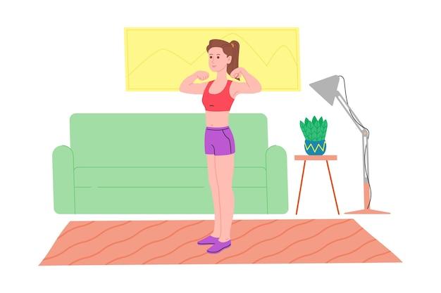 Ragazza che fa esercizi fisici sportivi, allenamenti a casa e fitness a casa durante la quarantena e conduce uno stile di vita sano. illustrazione vettoriale piatto. persone, uomini e donne che usano la casa come palestra.