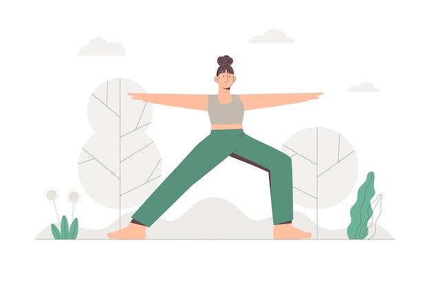Ragazza che fa yoga in un parco sullo sfondo della natura