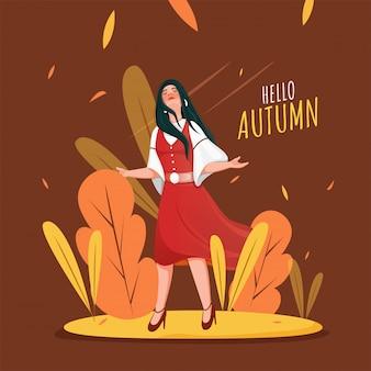 Giovane ragazza che gode della stagione autunnale su sfondo marrone può essere utilizzata come poster.