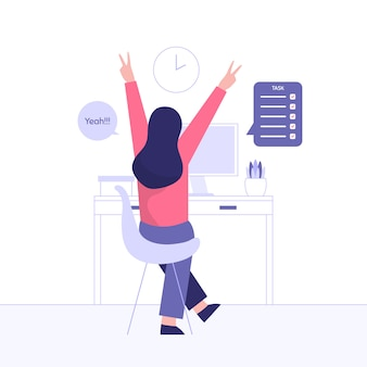 Giovane ragazza sentirsi eccitata, alzando le braccia quando finisce il suo progetto o incarico