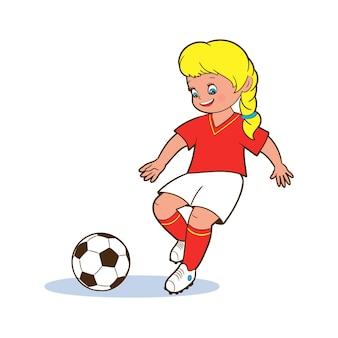 Una giovane giocatrice di football gioca con i piedi un pallone da calcio. illustrazioni vettoriali isolate in stile cartone animato su sfondo bianco per bambini.
