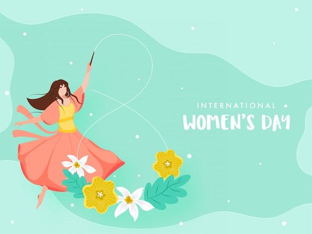 Ragazza che forma numero 8 dal bastone del nastro di ginnastica con i fiori sul fondo turchese pastello per la giornata internazionale della donna.