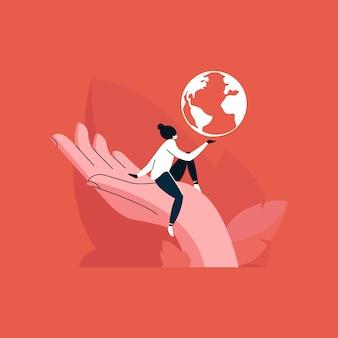Ragazza che tiene un globo in mano, amare il pianeta, salvare il concetto di terra,