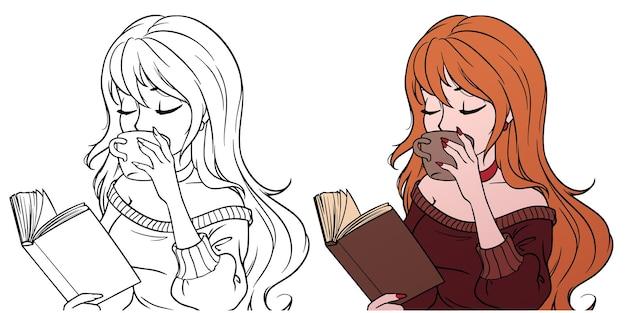 La ragazza sta bevendo il caffè e sta leggendo il libro