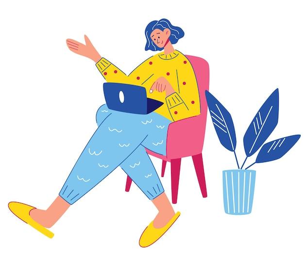 La ragazza è seduta su una sedia con un computer portatile. videochiamata di lavoro, comunicazione online. freelance o concetto di studio. lavoro a distanza, riunione urgente. posa comoda. illustrazione piana di vettore.