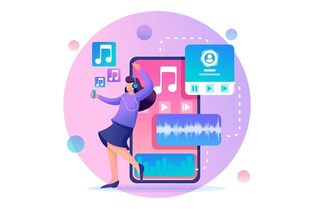 La ragazza ascolta la musica sullo smartphone tramite l'app, ballando e gioendo. carattere 2d piatto