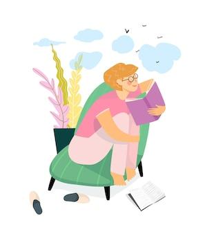 Ragazza che legge un libro a casa o in biblioteca e sogna. routine di vita quotidiana. accogliente interior design per la casa, studio e relax a casa leggendo il concetto di libro.
