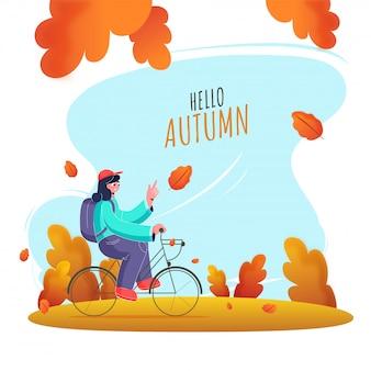 Bicicletta di guida della ragazza con uno zaino sulla priorità bassa astratta della natura per ciao autunno.