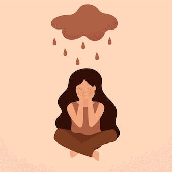 La ragazza si siede sul pavimento e si copre il viso in lacrime con le mani. ragazza in depressione, solitudine. disturbo mentale o malattia, ansia, crisi, lacrime, esaurimento, perdita, superlavoro, stanchezza.