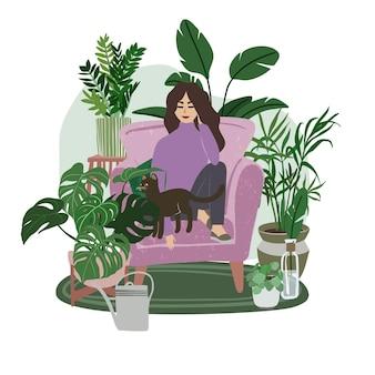 Ragazza che si siede nella sedia lilla con un gatto, piante tropicali sono intorno, illustrazione piatta disegnata a mano