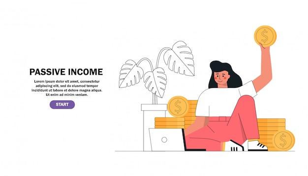 Ragazza che si siede con il computer portatile che guadagna soldi online accanto alle pile di monete di oro, reddito passivo, investimento, risparmio di finanza, libero professionista, lavoro distante.