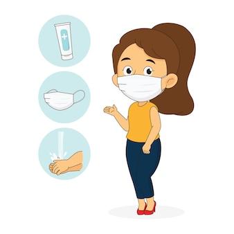 Ragazza che indossa una mascherina medica per prevenire il coronavirus covid 19