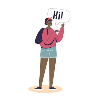 Giovane ragazza che indossa un orologio intelligente per chiamare o chattare. donna che utilizza il cinturino touch screen per la connessione wireless online