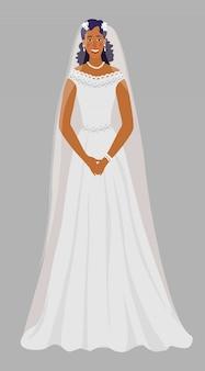 Una giovane ragazza in un abito da sposa, sposa in bianco con un velo.