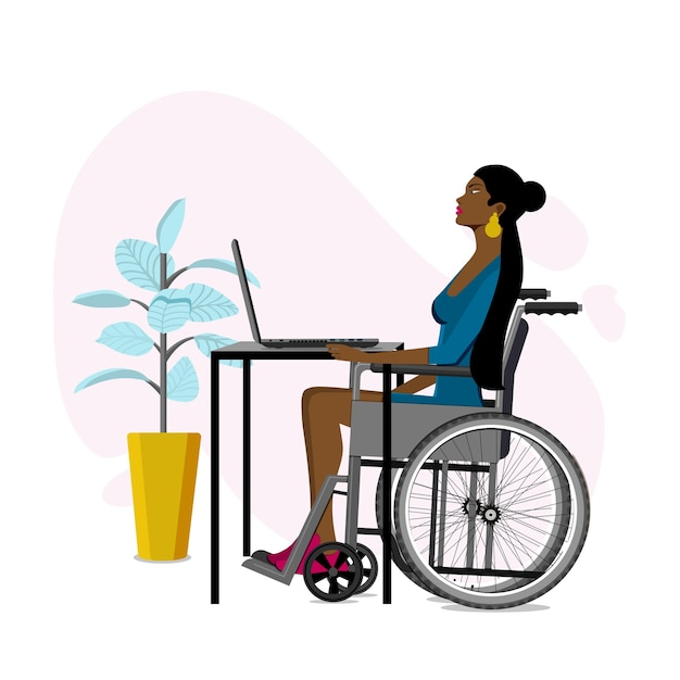 Giovane ragazza in sedia a rotelle lavora sul computer portatile Vettore Premium