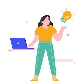 Ragazza con il computer portatile per l'illustrazione della soluzione creativa